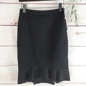 Anthro HD in Paris Black Ruffle Hem Pencil Skirt